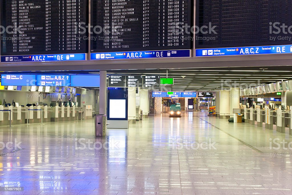 Empty Airport Lobby with Cleaning Vehicle royalty-free stock photo