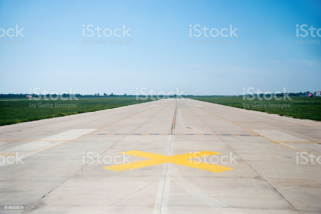 Empty airport runway stock photo