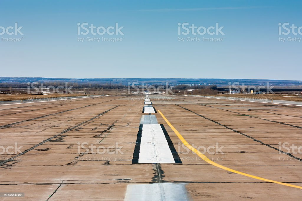 Empty airport runway royalty-free stock photo