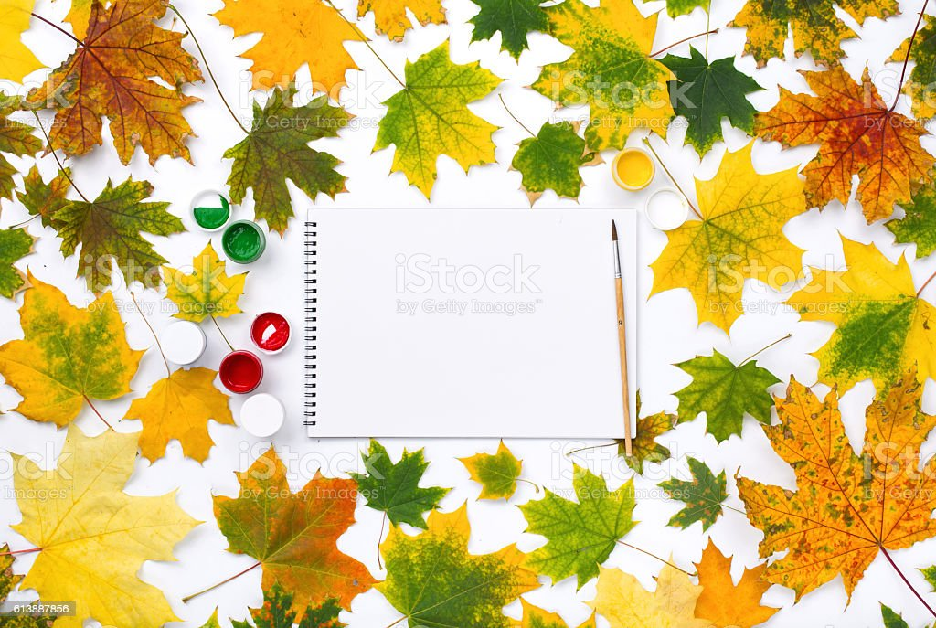 Empty album with paints in the frame of autumn leaves stock photo