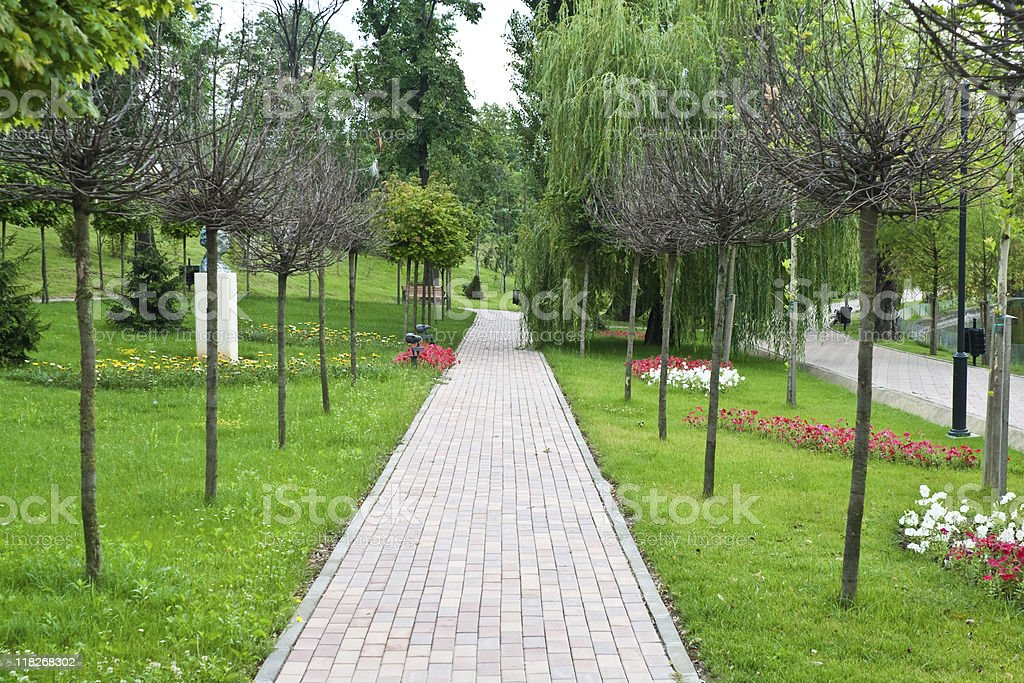 Empty alley in the Bordei Park, Romania royalty-free stock photo