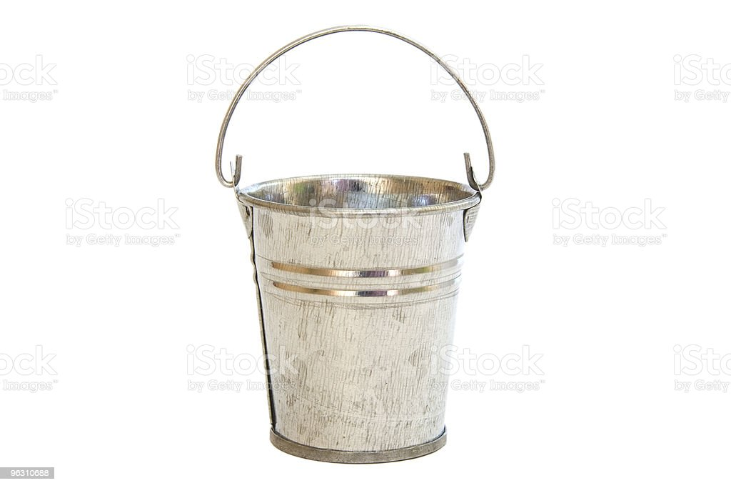 Empty aluminum pail on white royalty-free stock photo