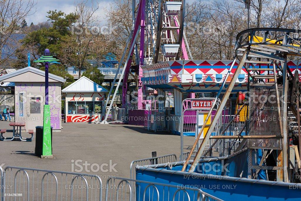 Empty Amusement Park stock photo