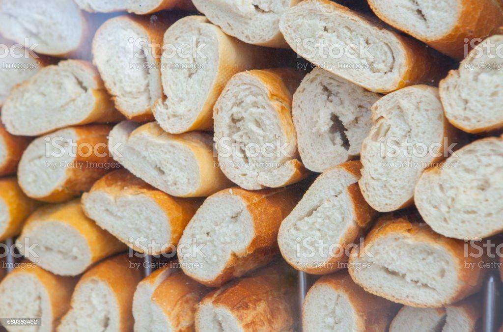 Empty and sliced spanish bocadillos bread ready for fill stock photo