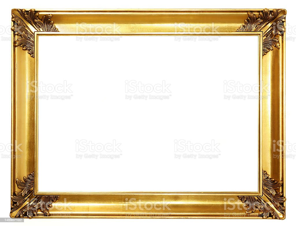 Empty antique gold frame on white background stock photo
