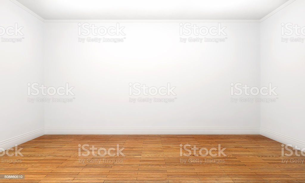 Empty apartment room, front view, white walls, hardwood floor stock photo