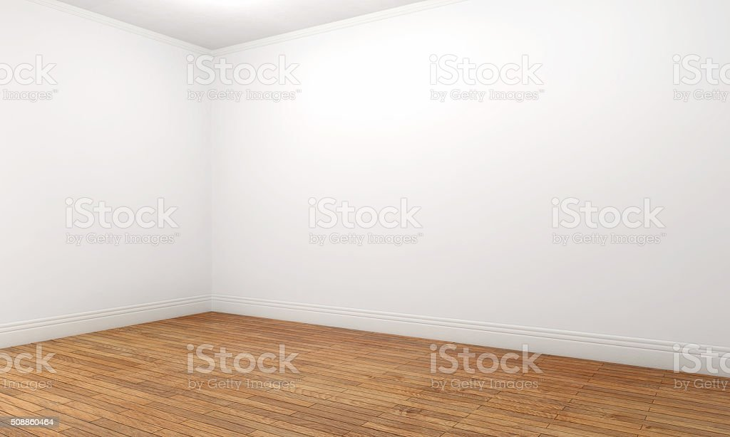 Empty apartment room with white walls and brown parquet stock photo