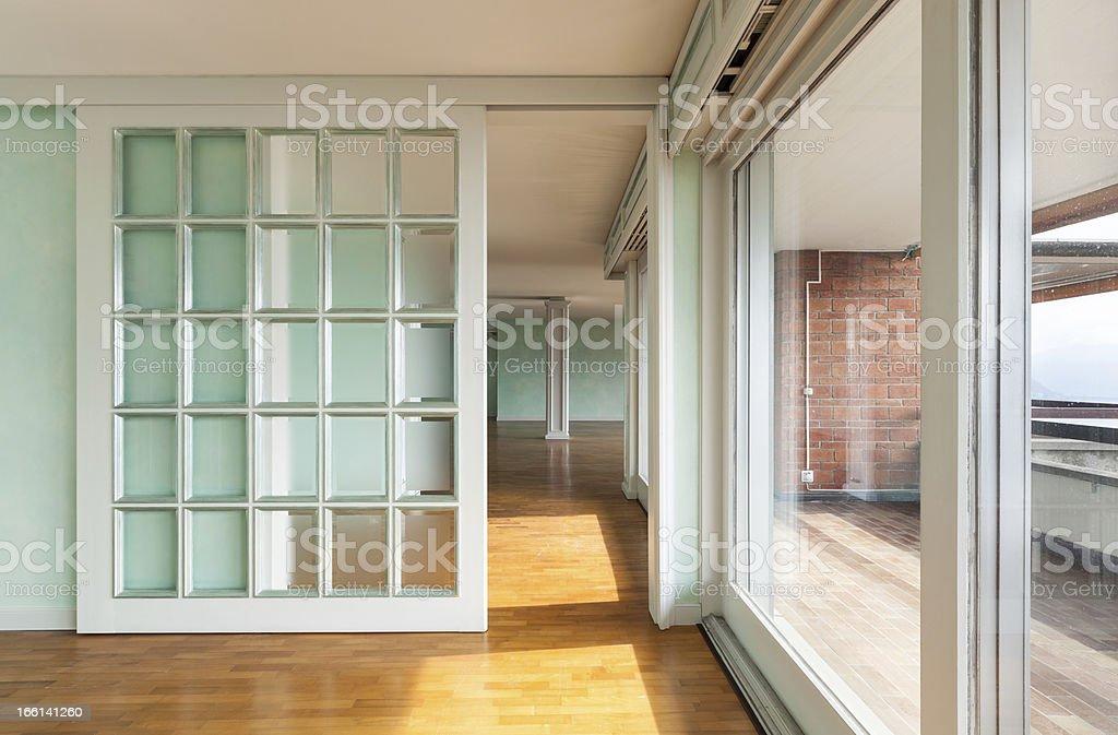 empty apartment, windows stock photo