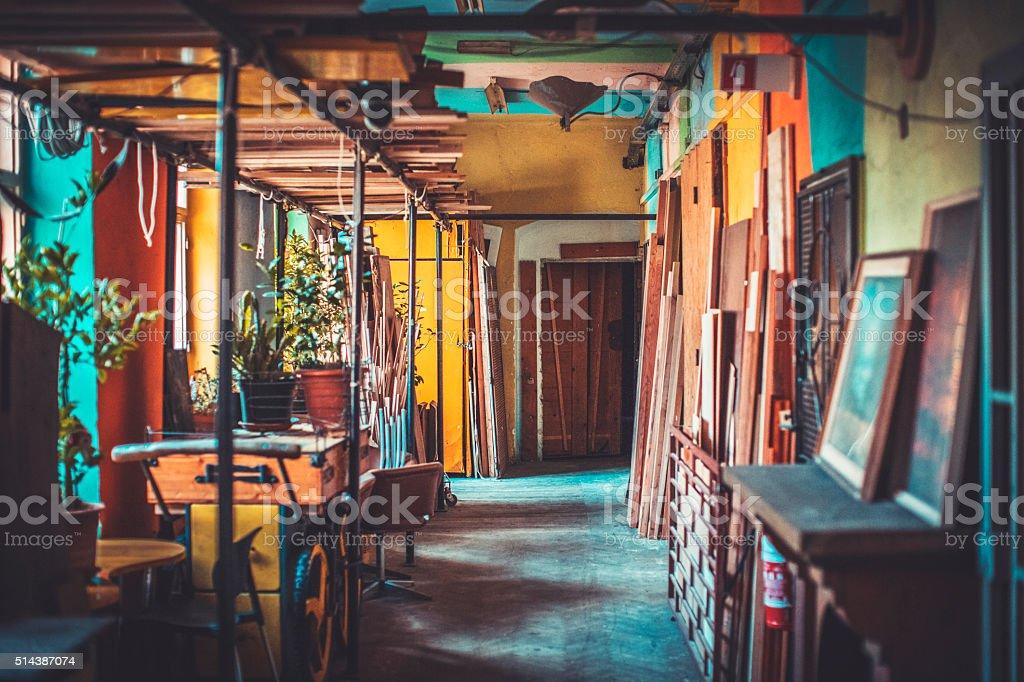 Empty art workshop corridor stock photo