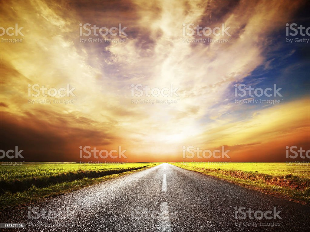 Empty asphalt road. Sunset Sky stock photo