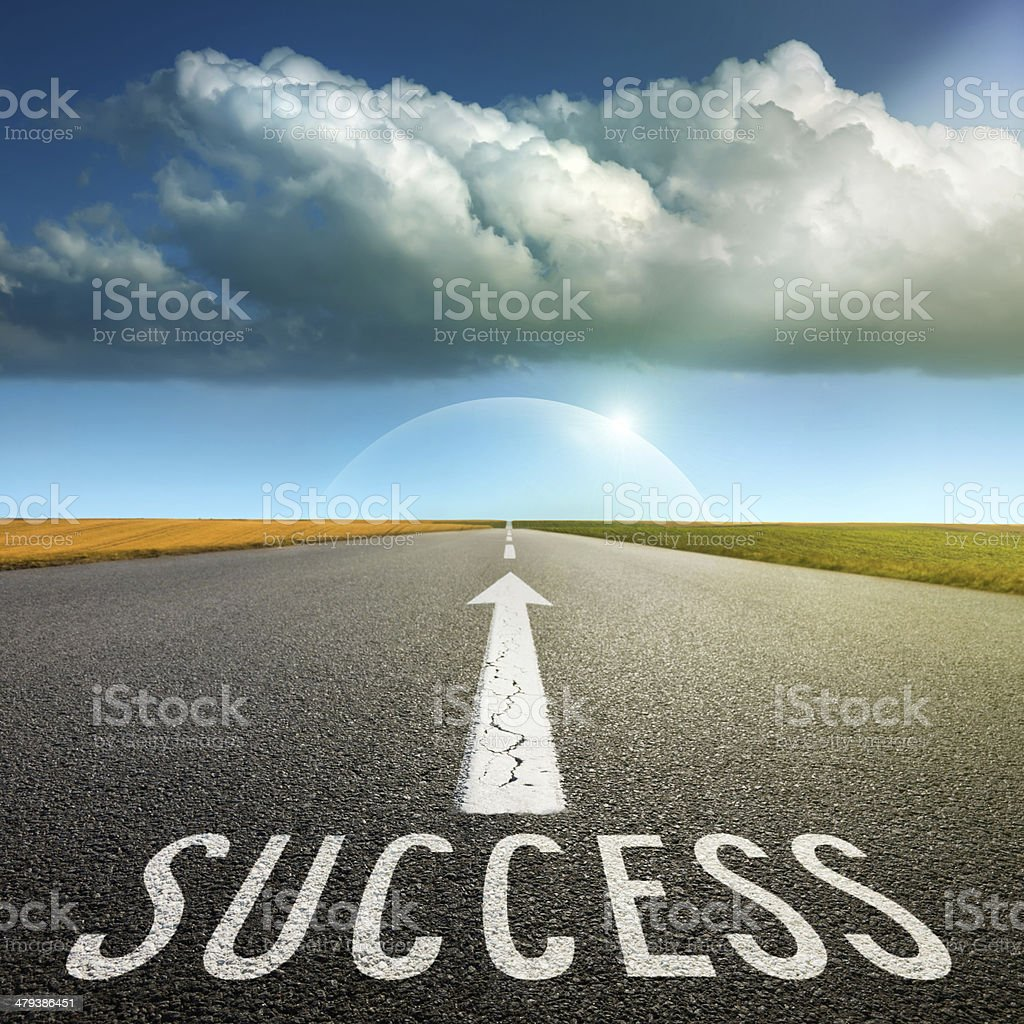 Empty asphalt road towards cloud and signs symbolizing success a stock photo