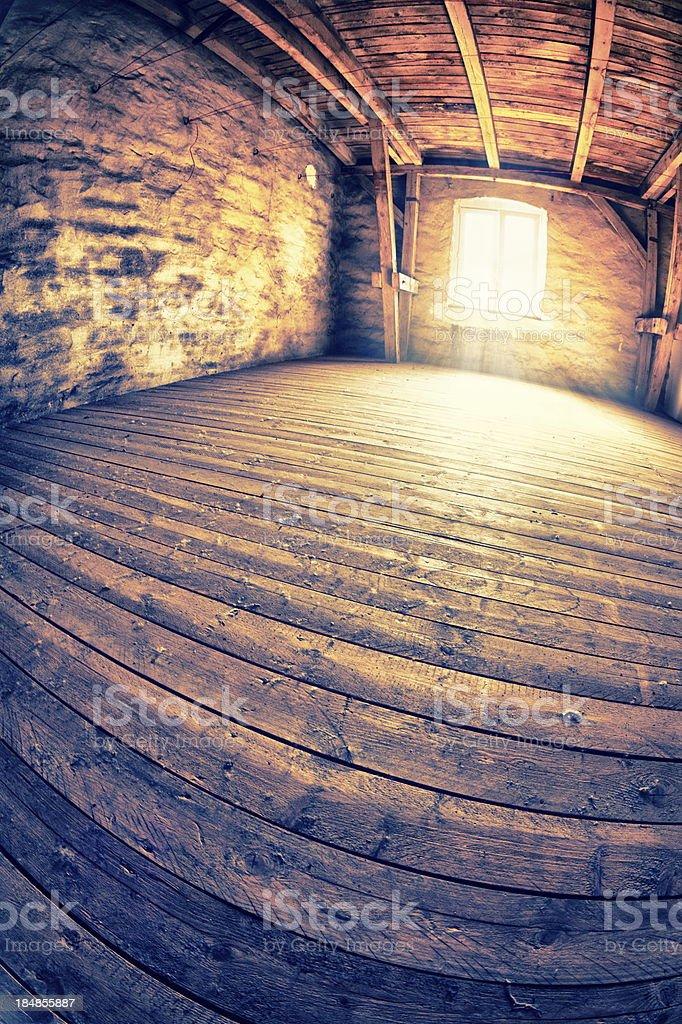 Empty attic stock photo