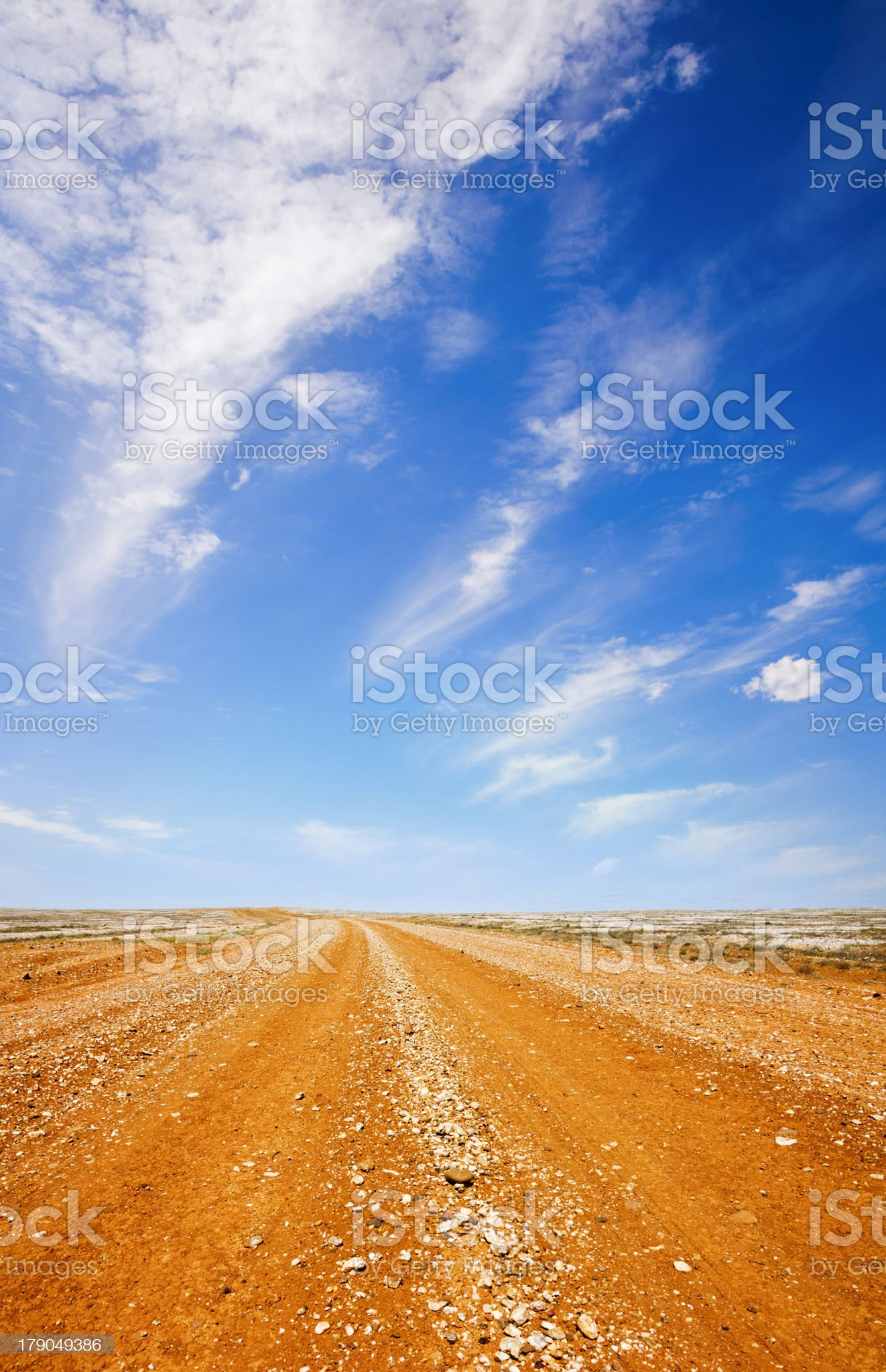 Empty Australian outback road on a sunny day royalty-free stock photo