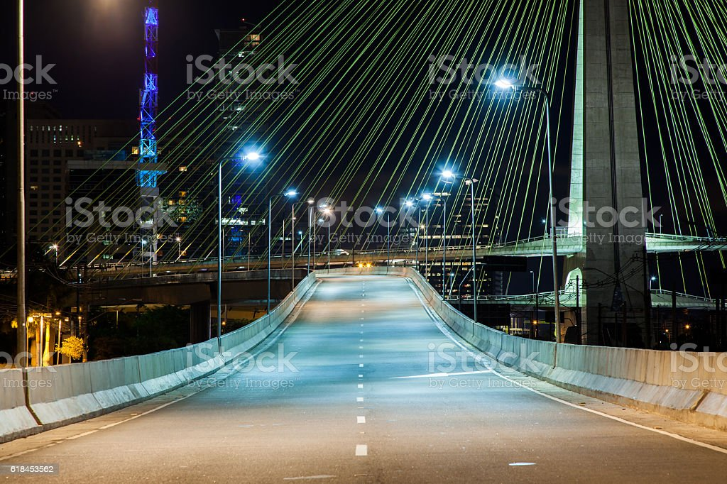 Empty avenue cable stayed bridge in Sao Paulo Brazil stock photo