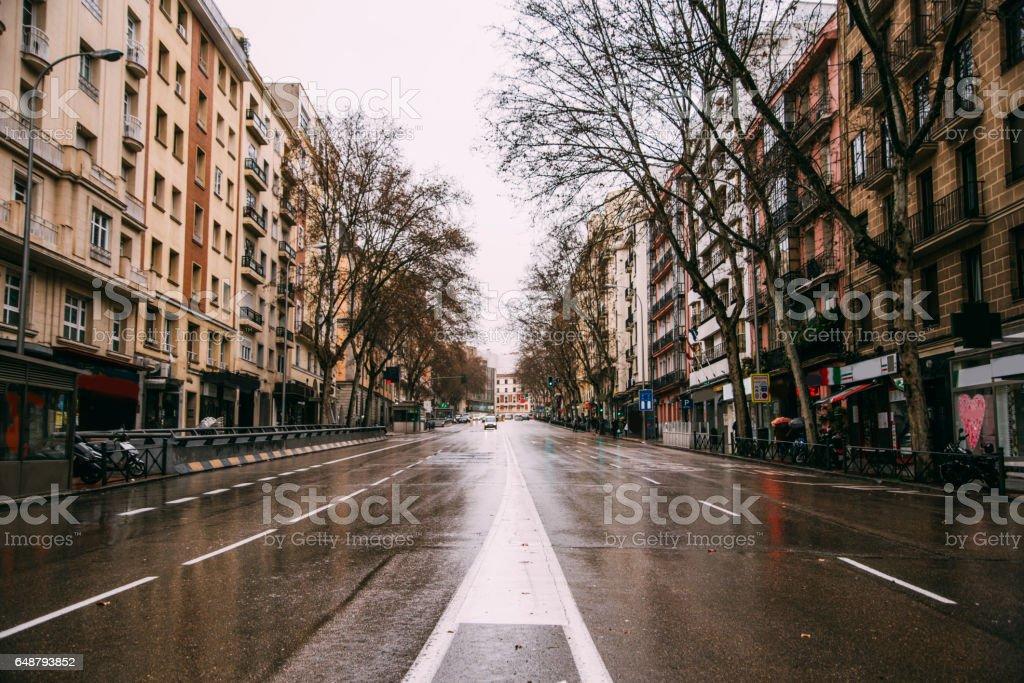 Empty avenue in Madrid, Spain stock photo