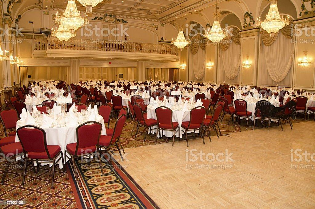 Empty Ballroom of Frontenanc Castle Quebec city stock photo