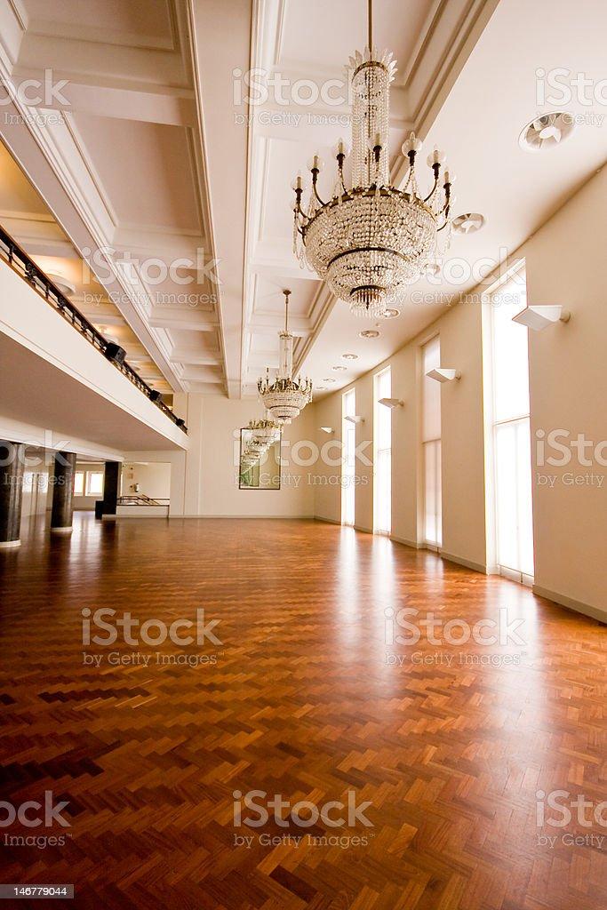 Empty Ballroom with Wooden Floor stock photo