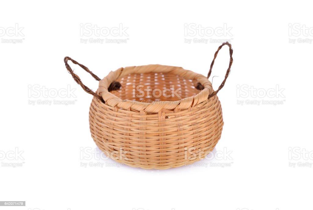 empty bamboo small basket on white background stock photo