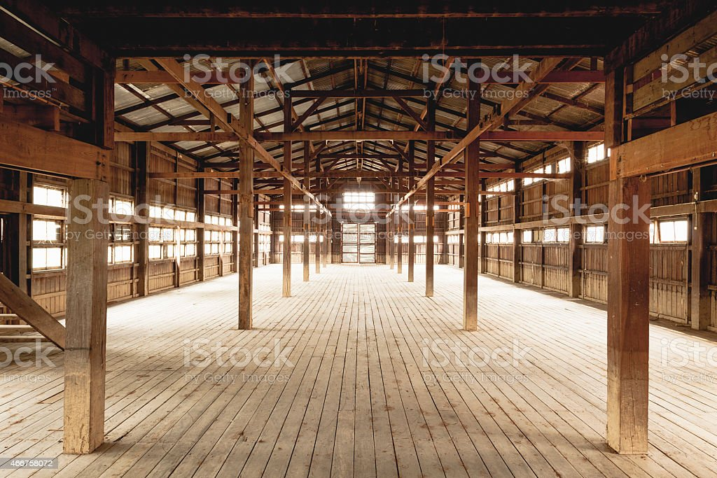 Empty barn intention hardwood floors and beans stock photo