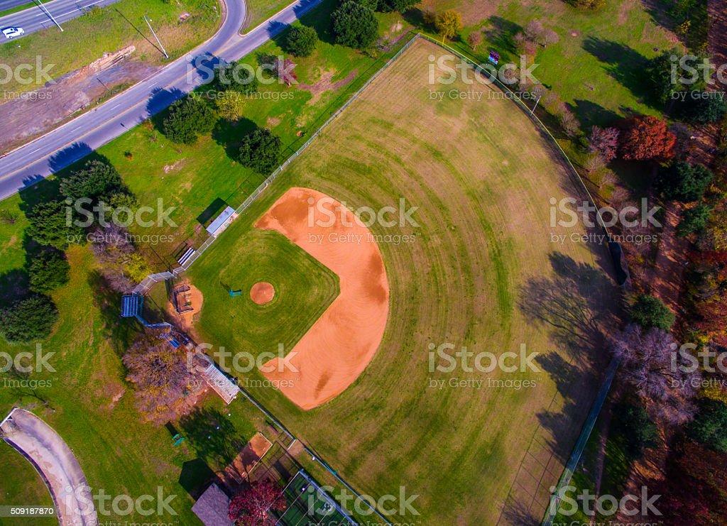 Empty Baseball Field Aerial Sports Field stock photo