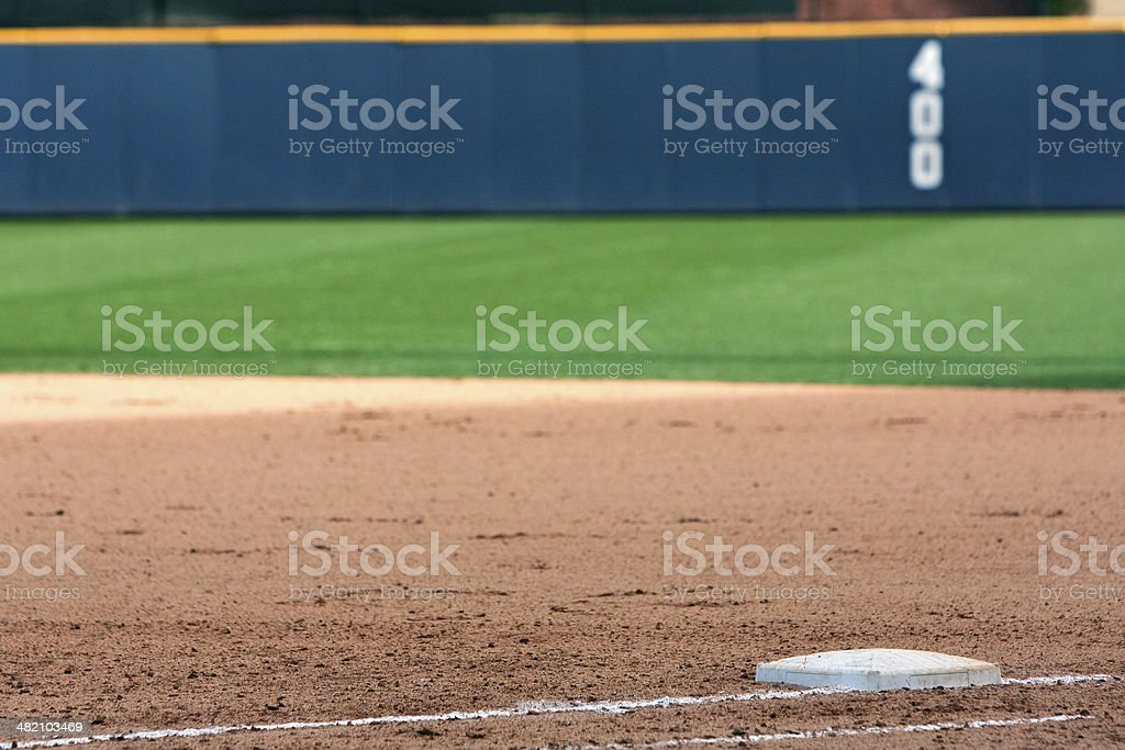 Empty Baseball Field Highlights First Base And Outfield Wall stock photo