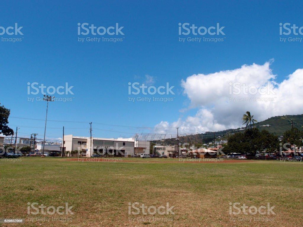 Empty Baseball Field stock photo