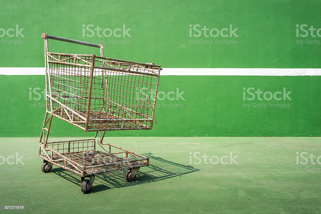 Empty basket ball in tennis court stock photo