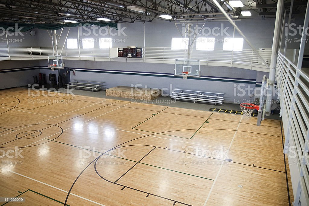 Empty Basketball Gymnasium royalty-free stock photo