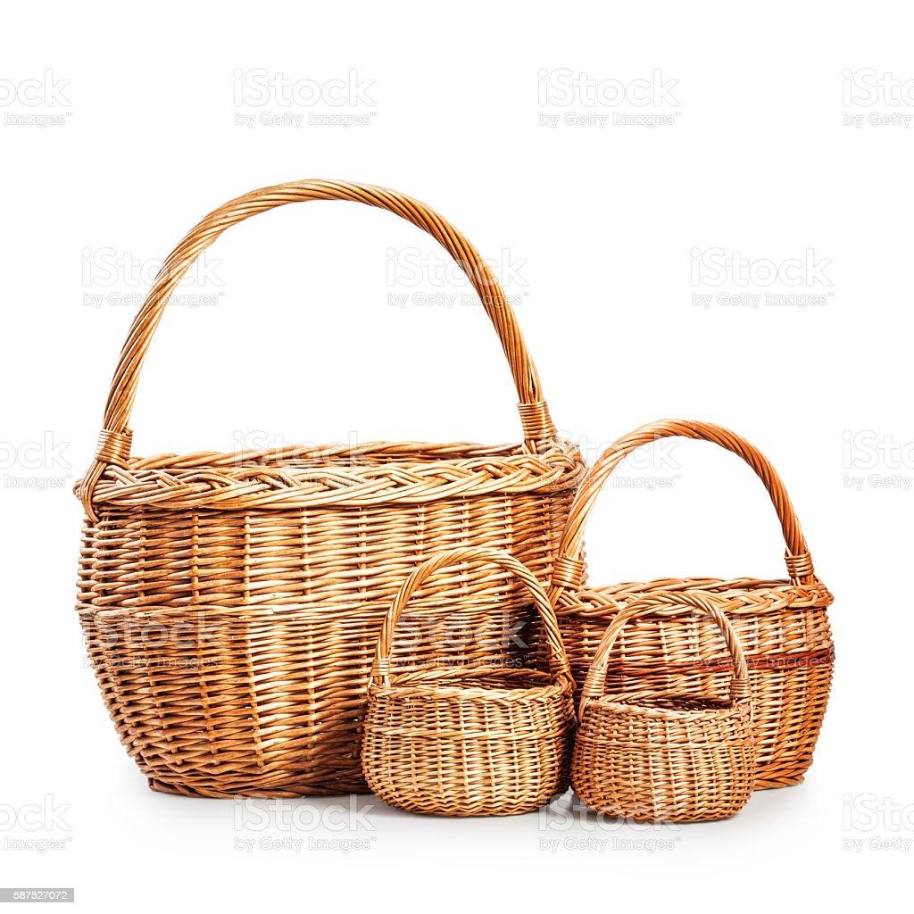 Empty baskets stock photo