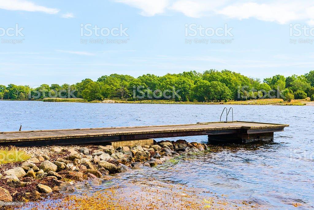 Empty bathing pier stock photo
