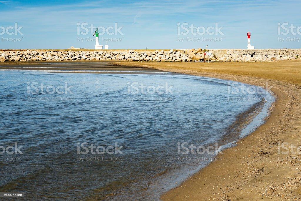 empty beach at le Grau du Roi stock photo