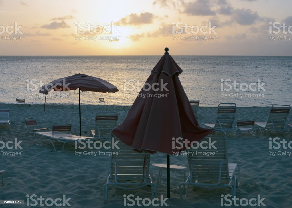 Empty Beach at Sunset stock photo
