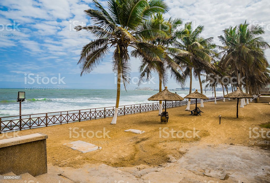 Empty beach cafe in Ghana stock photo
