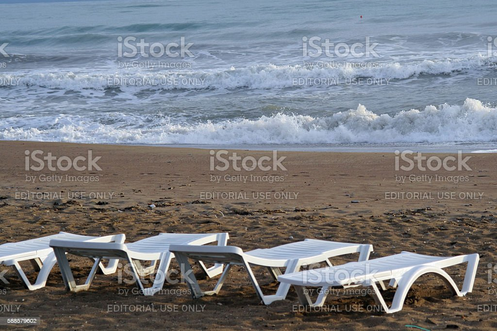 Empty beach in Antalya, Turkey, due to coup d'etat, stock photo