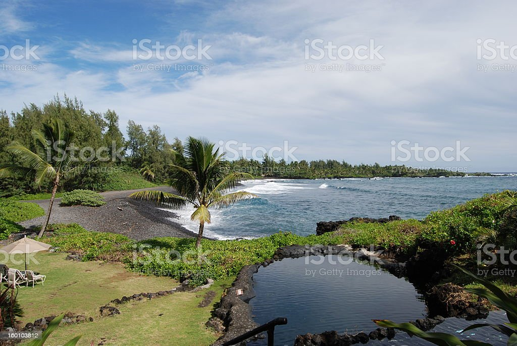 Empty Beach in Hana, Maui stock photo