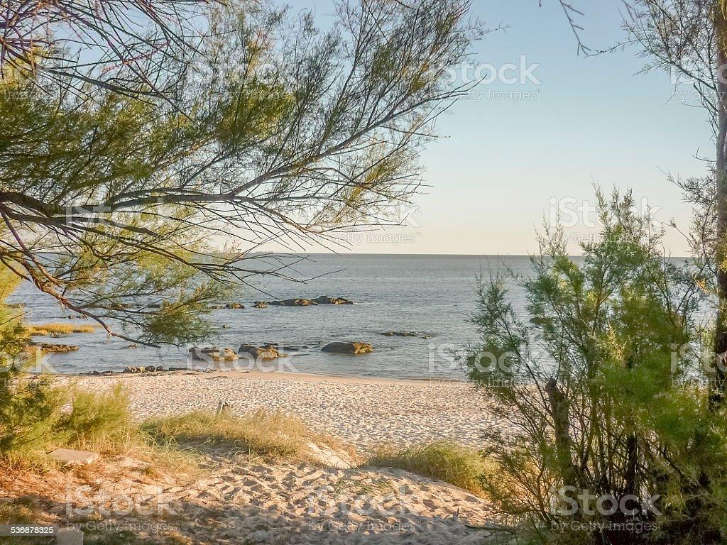 Empty Beach in Montevideo stock photo