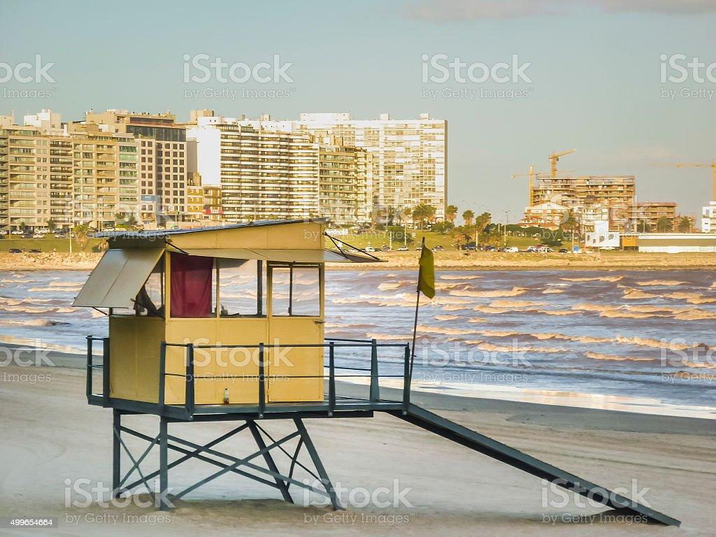 Empty Beach in Montevideo Uruguay stock photo