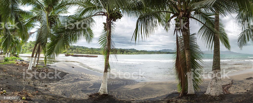 Empty beach in Puerto Viejo, Costa Rica stock photo