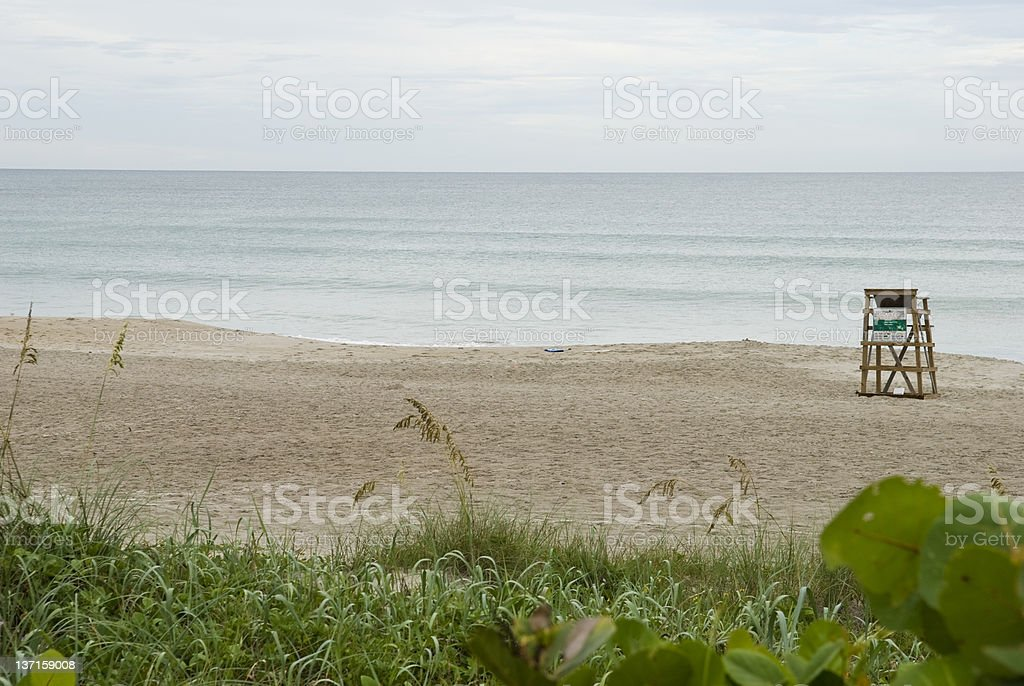 Empty beach lifeguard stand in Indialantic, Florida royalty-free stock photo
