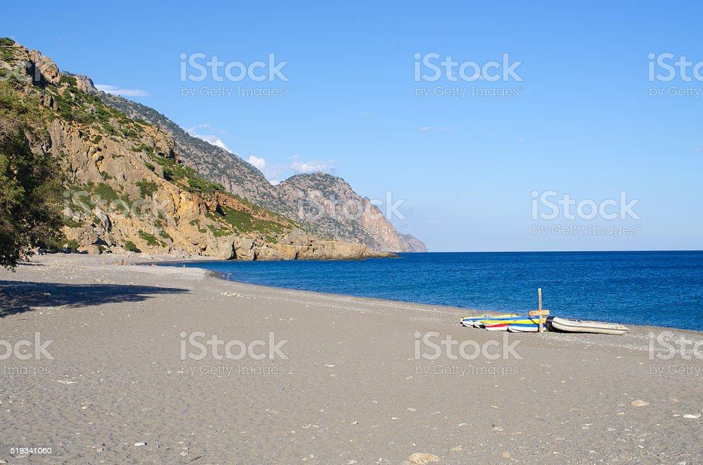 Empty beach of Sougia, Crete, Greece stock photo