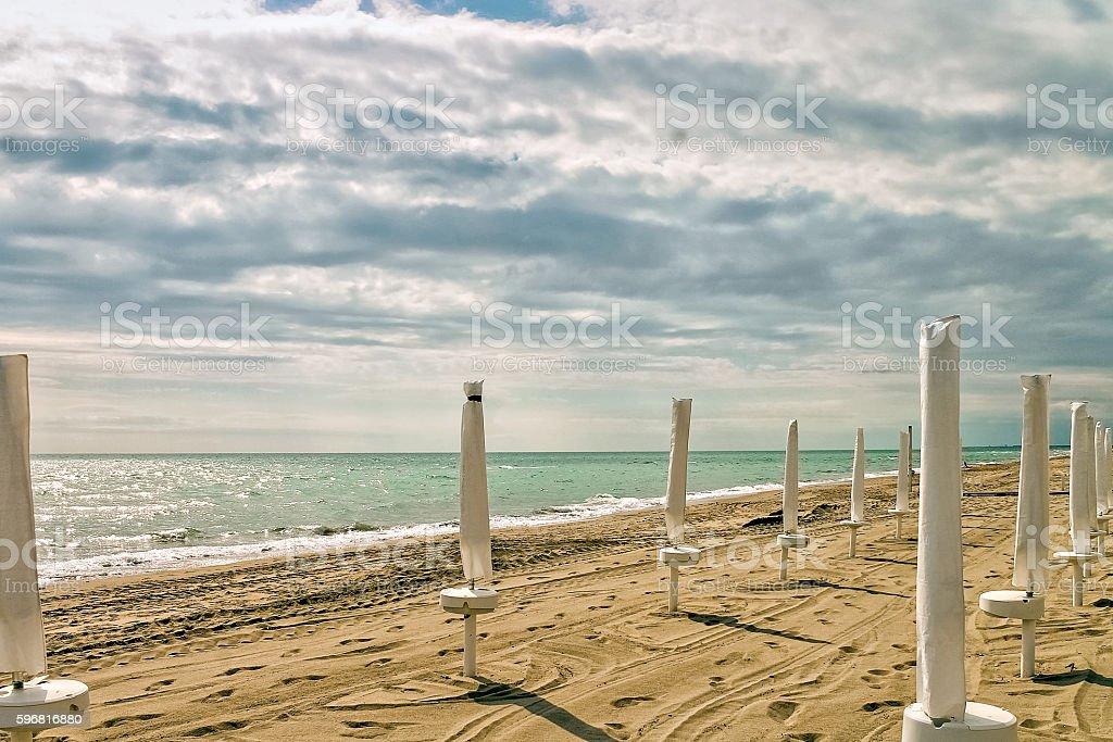 Empty Beach on the coast of the Tyrrhenian Sea stock photo
