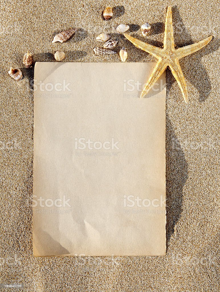 Empty beach paper, you add the announcement royalty-free stock photo