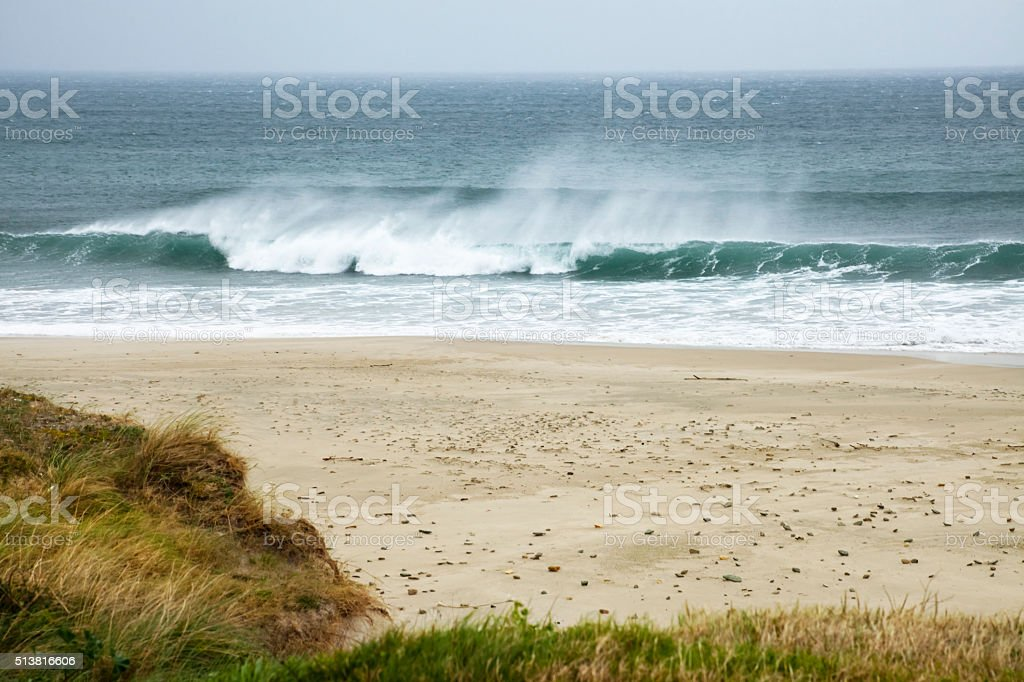 Empty beach, sea wave,wind, horizon. stock photo