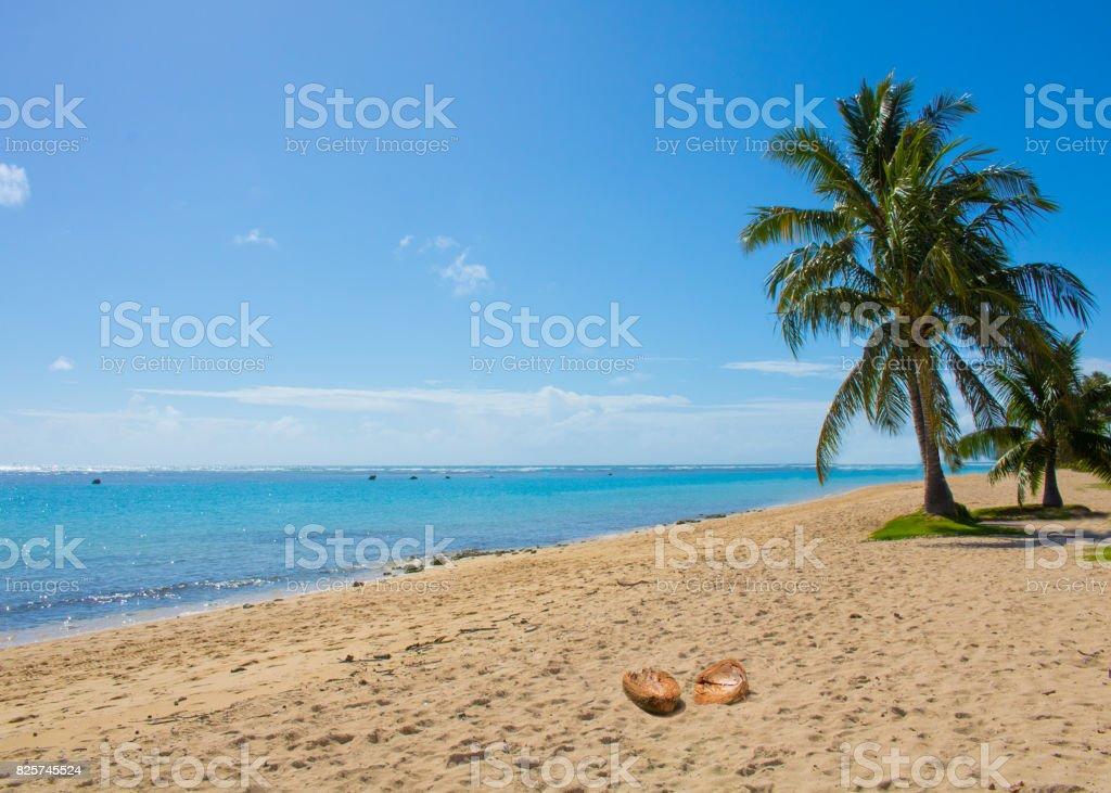 Empty beach with blue sky stock photo