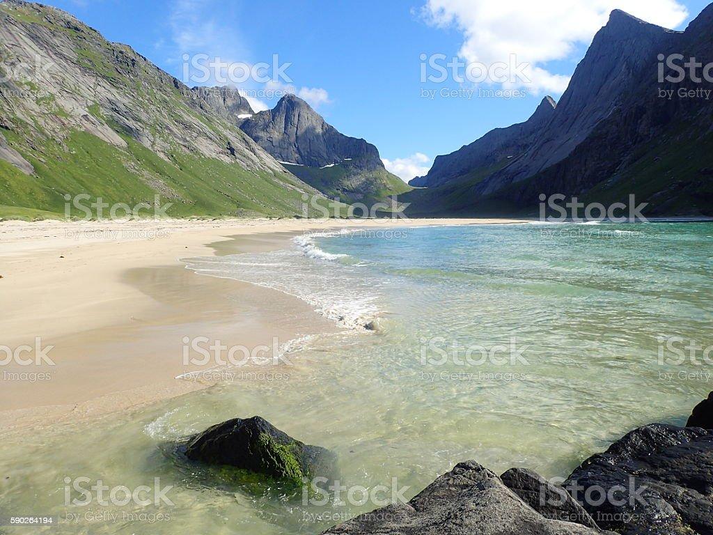 Empty beach with mountainous background stock photo