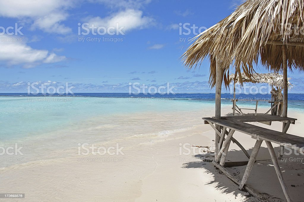 Empty Beach with the Hut stock photo