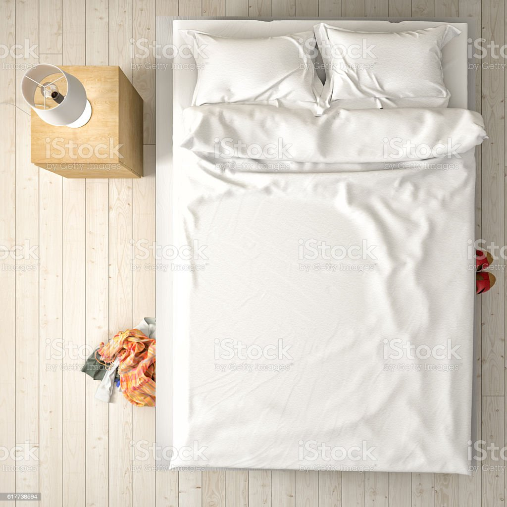 Empty bed, overhead view stock photo
