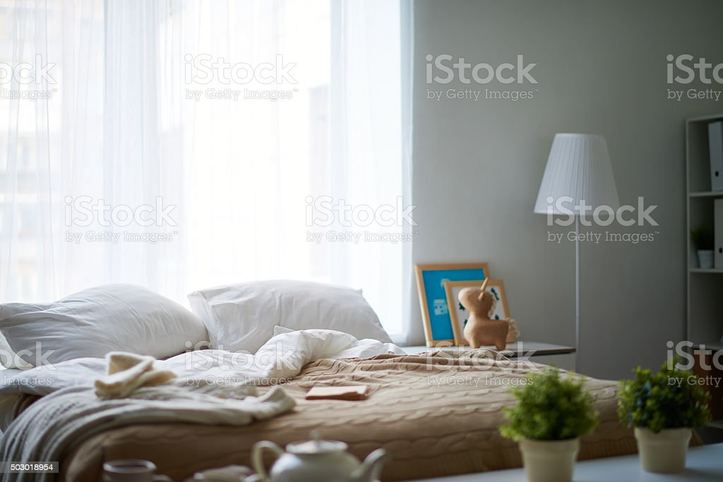 Empty bedroom stock photo