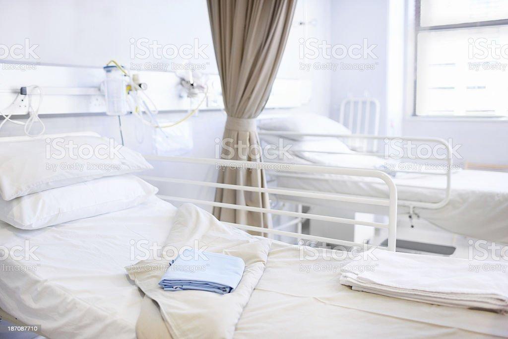 Empty beds stock photo