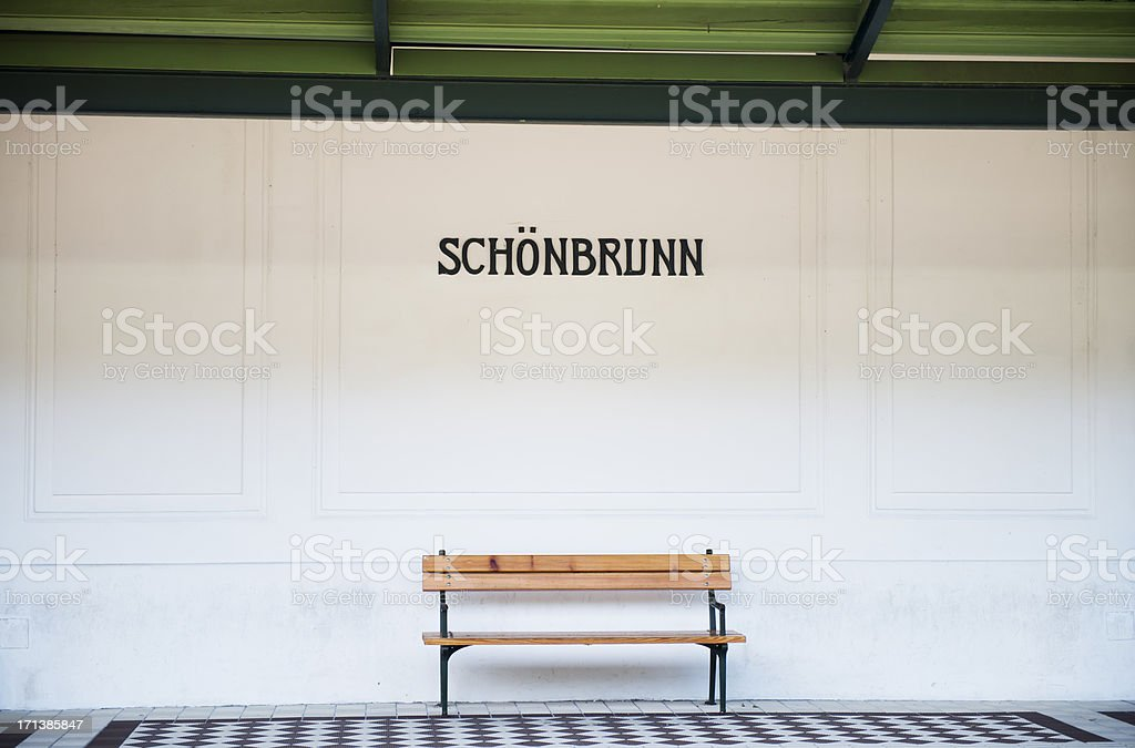 Empty bench in metro station royalty-free stock photo
